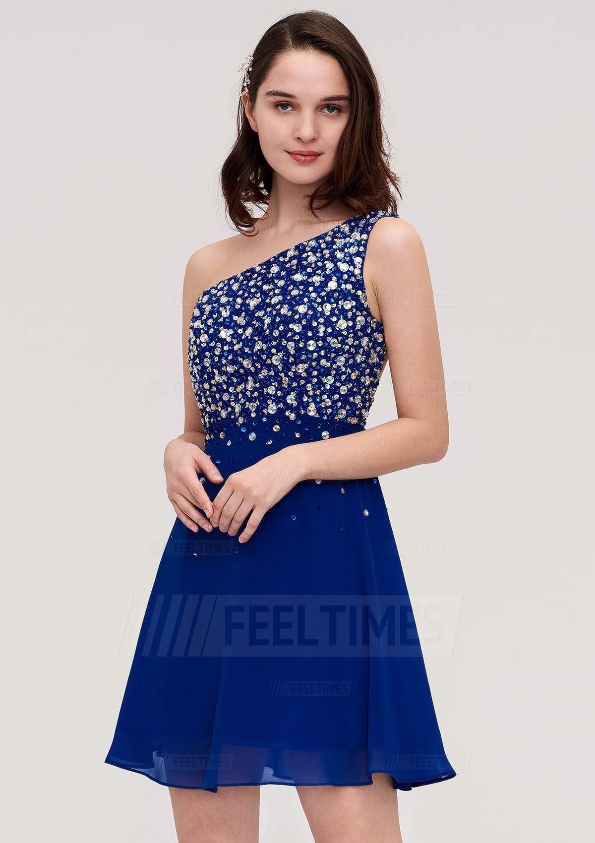 A-Line/Princess One-Shoulder Sleeveless Short/Mini Chiffon Homecoming Dress With Crystal