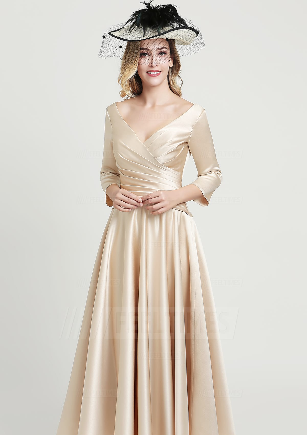 A-line/Princess V Neck 3/4 Sleeve Ankle-Length Satin Mother of the Bride Dress With Pleated