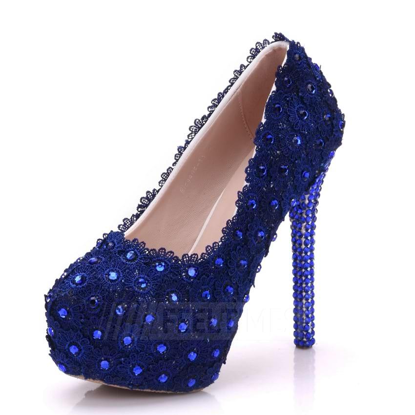 Women's PU With Rhinestone/Appliqued Close Toe Heels Shoes