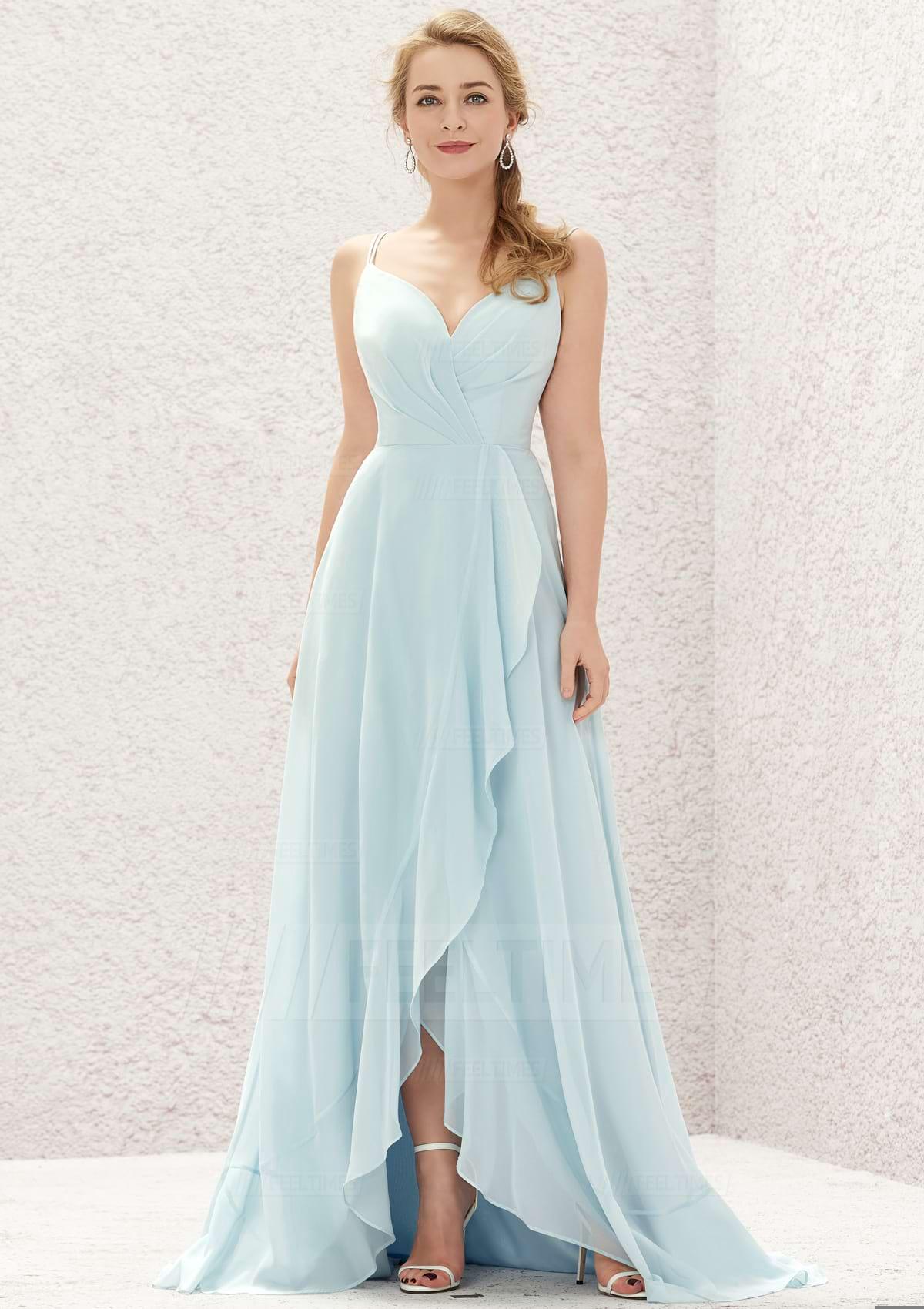 A-line/Princess Sleeveless Asymmetrical Chiffon Bridesmaid Dresses With Cascading/Ruffles/Pleated