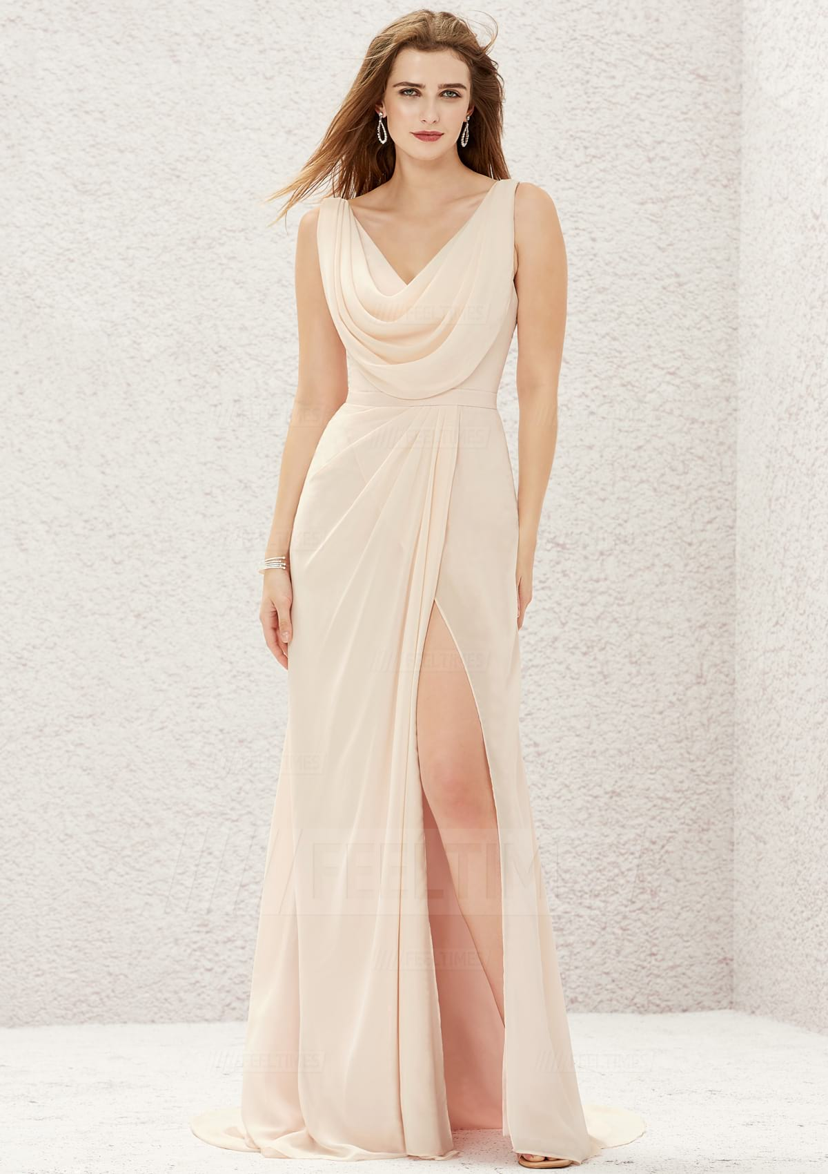 A-line/Princess Sleeveless Sweep Train Chiffon Satin Bridesmaid Dress With Split/Pleated