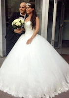 Ball Gown Sweetheart Sleeveless Sweep Train Tulle Wedding Dress With Appliqued Beading