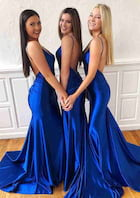 Trumpet/Mermaid Sleeveless Court Train Charmeuse Prom Dress With Pleated