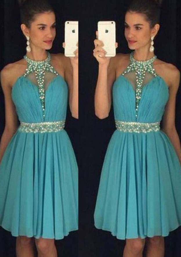 A-Line/Princess High-Neck Sleeveless Short/Mini Chiffon Homecoming Dress With Pleated Beading