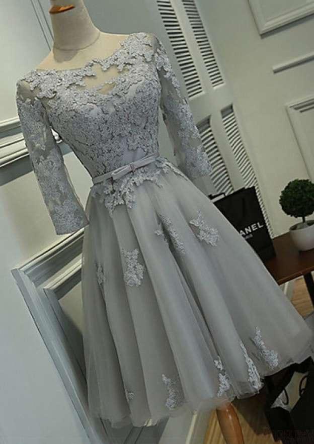 A-Line/Princess Bateau Half Sleeve Knee-Length Tulle Homecoming Dress With Bowknot Lace