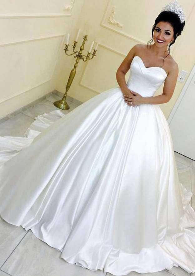 Ball Gown Sweetheart Sleeveless Chapel Train Satin Wedding Dress