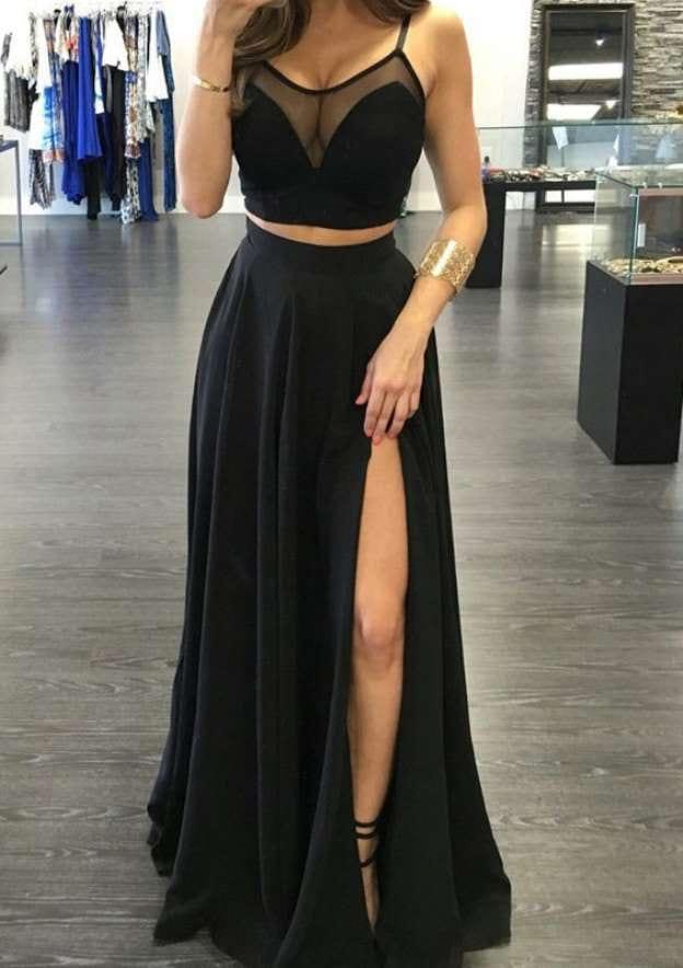 A-Line/Princess Bateau Sleeveless Long/Floor-Length Chiffon Prom Dress