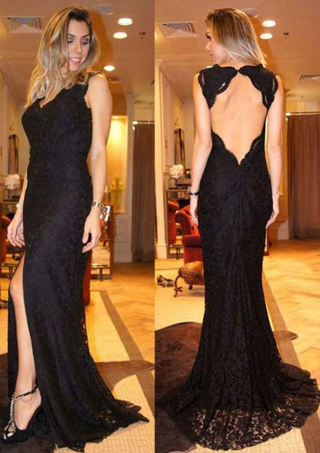 Sheath/Column V Neck Sleeveless Sweep Train Lace Prom Dress