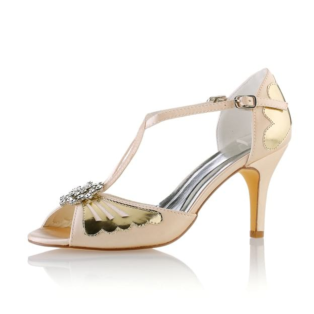 Peep Toe Pumps Stiletto Heel Satin Wedding Shoes With Buckle Rhinestone
