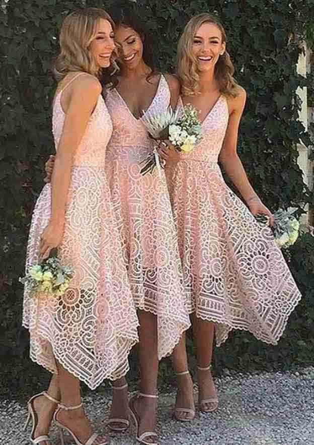 A-Line/Princess V Neck Sleeveless Asymmetrical Lace Bridesmaid Dresses