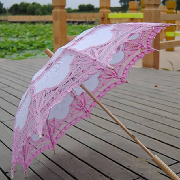 Cotton Women'S Post Handle Wedding Umbrellas