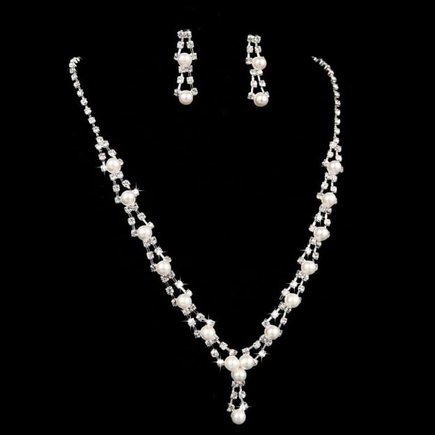 Alloy Irregular Earclip Jewelry Sets With Imitation Pearls Rhinestone