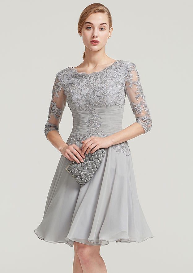 A-Line/Princess Bateau Half Sleeve Knee-Length Chiffon Mother Of The Bride Dress With Pleated Appliqued Lace