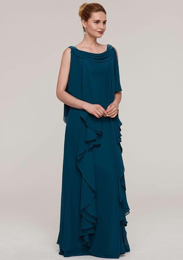 Sheath/Column Cowl Neck Sleeveless Long/Floor-Length Chiffon Mother Of The Bride Dress With Beading Ruffles