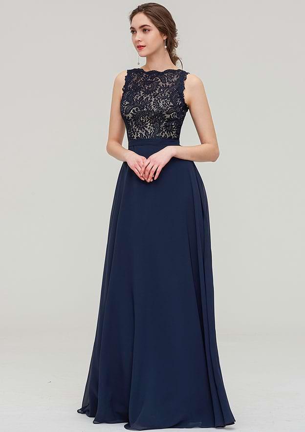 A-line/Princess Bateau Sleeveless Long/Floor-Length Chiffon Bridesmaid Dress With Sashes Lace