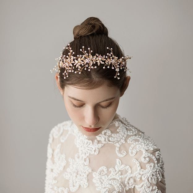 Ladies Alloy/Freshwater Pearl With Venetian Pearl/Rhinestone Headbands (Sold in single piece)