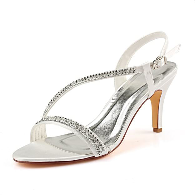 Women's Satin With Beaded Peep Toe SlingBacks Sandals Heels Wedding Shoes