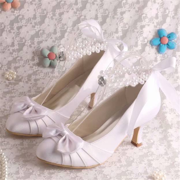 Women's Satin With Ribbon Tie/Pleated/Bowknot/Beading Heels Close Toe Wedding Shoes