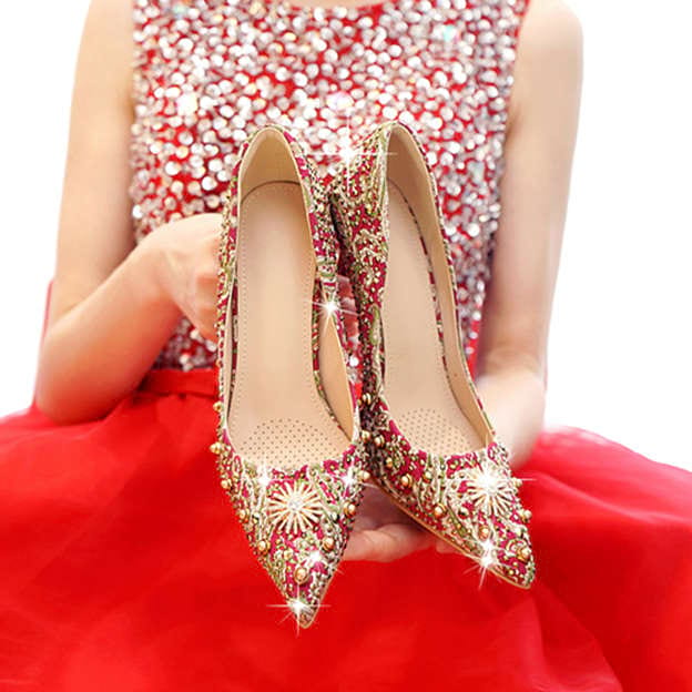 Women's PU With Rhinestone/Lace Close Toe Heels Pumps Wedding Shoes