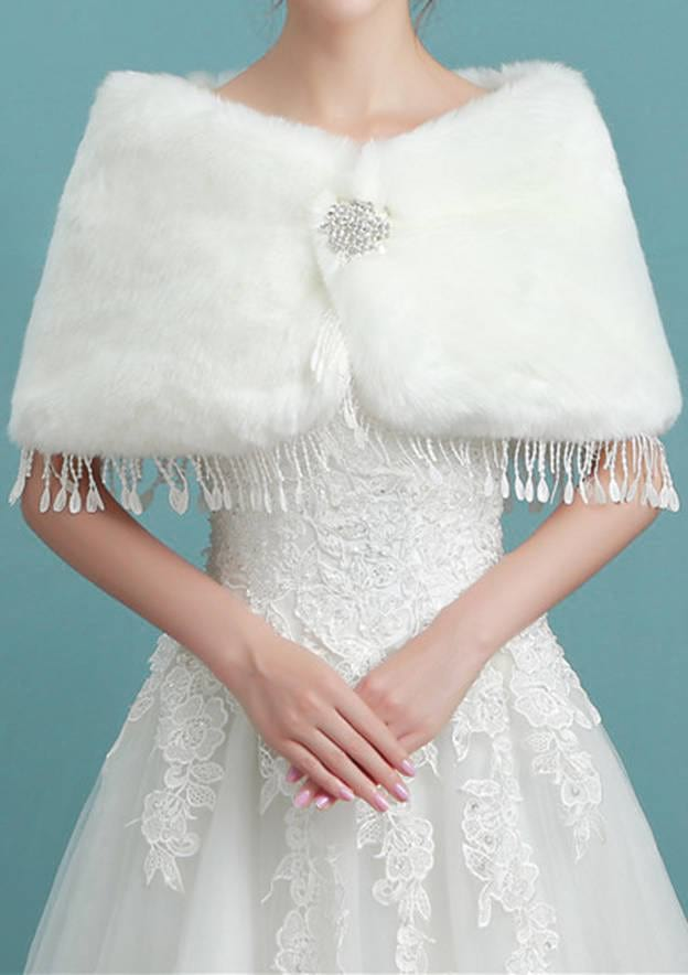 Faux Fur Wedding Wrap With Tassel
