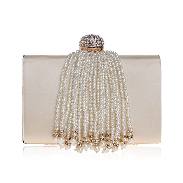 Fashionable Polyester Clutches/Evening Bags With Imitation Pearls