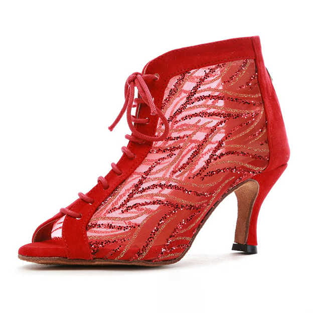 Women's Tulle/Suede With Sequins Heels/Peep Toe Dance Shoes