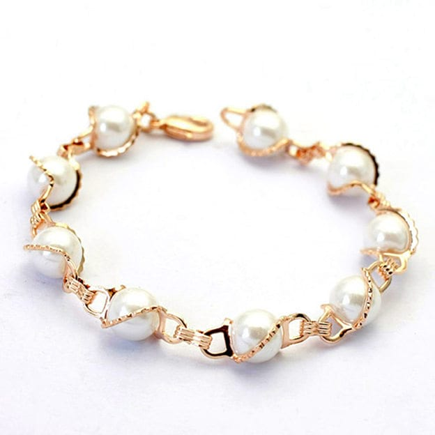 Women's Attractive Silver Bracelets With Imitation Pearls For Bride