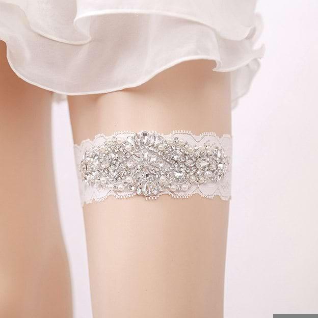 Bridal Elegant Lace Garters With Rhinestone Pearl