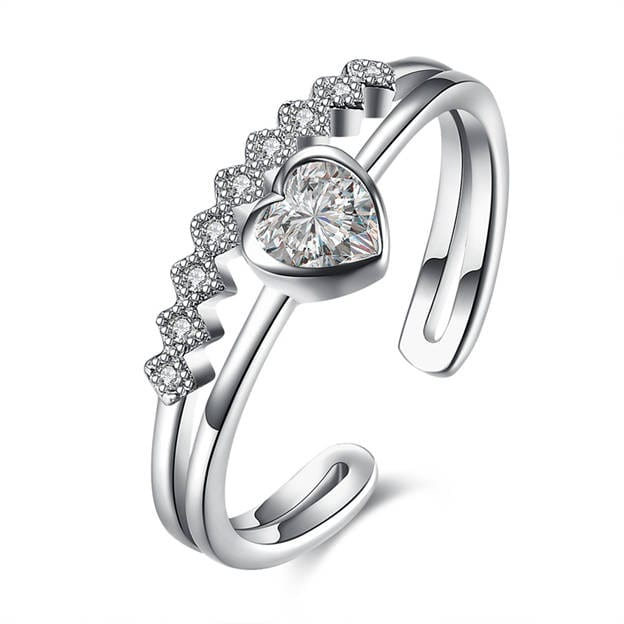 Women's Sweet 925 Sterling Silver Rings With Cubic Zirconia