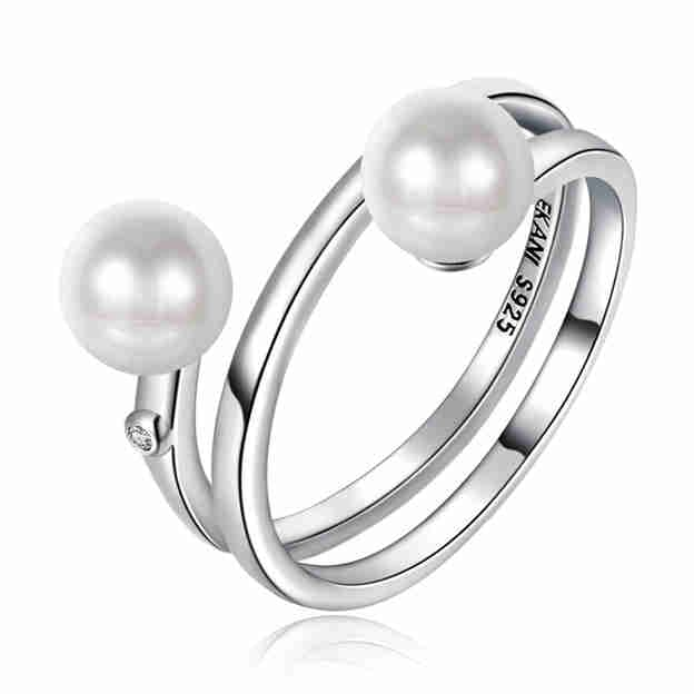 Women's Romantic 925 Sterling Silver Rings With Imitation Pearls