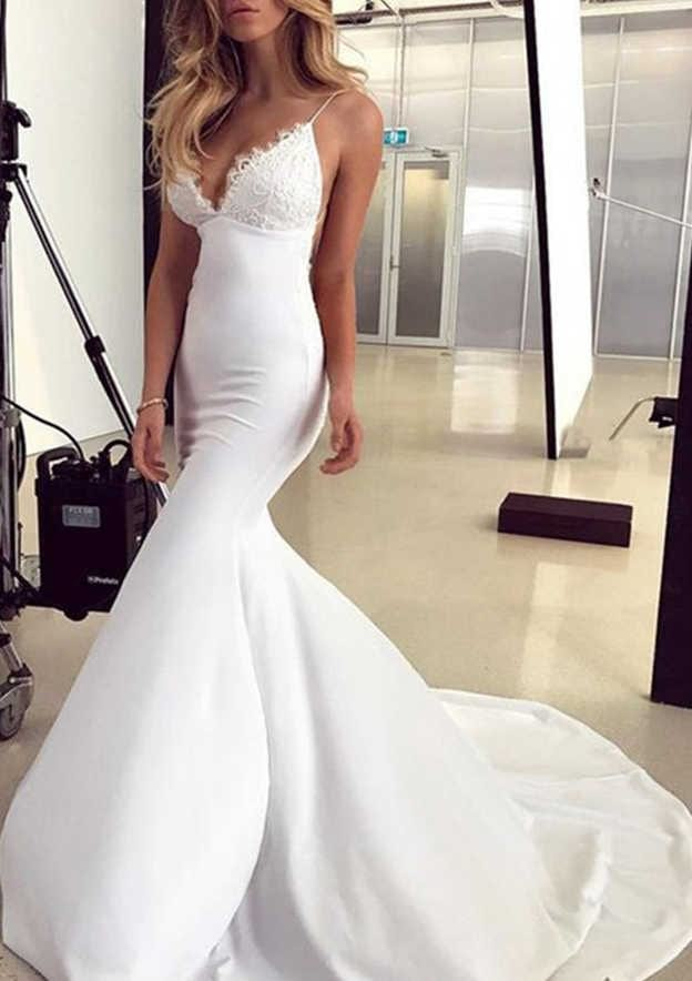 Trumpet/Mermaid Sleeveless Chapel Train Elastic Satin Prom Dress With Lace