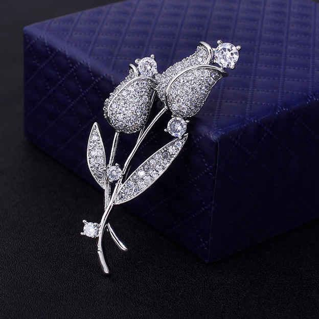 Women's Beautiful Silver Brooches With Cubic Zirconia