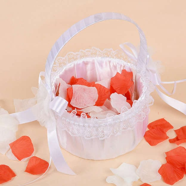 Romantic Flower Basket in Satin With Imitation Pearl