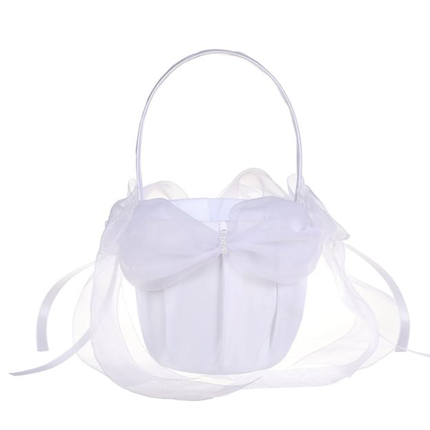 Charming Flower Basket in Satin With Bowknot