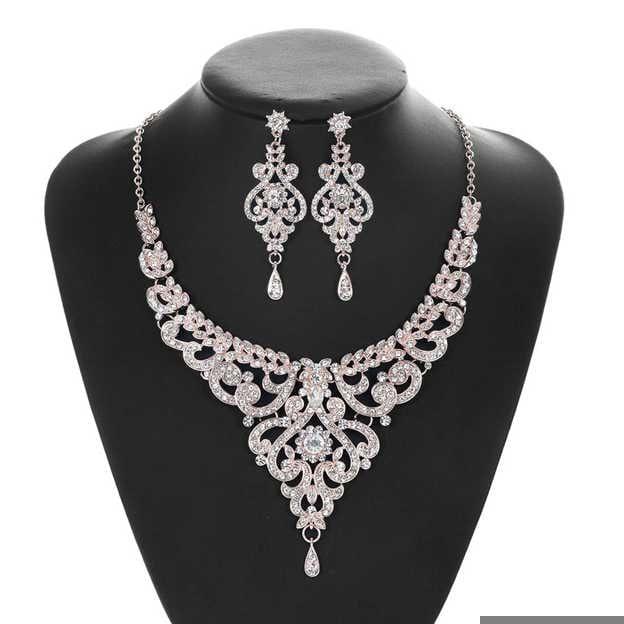 Women's Elegant Silver Jewelry Sets With Rhinestone