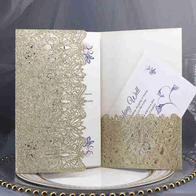 Bride & Groom Style Tri-Fold Invitation Cards 30 Piece/Set