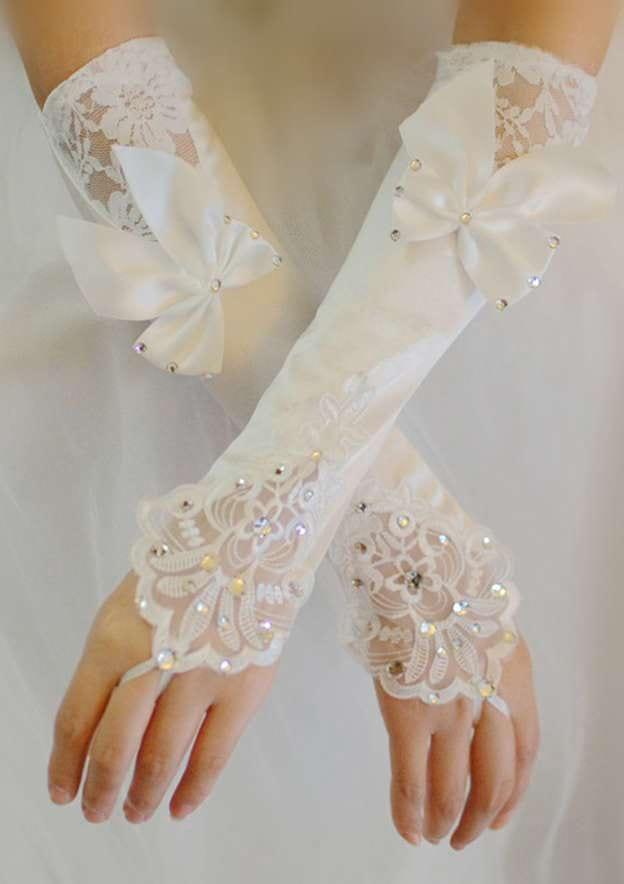 Elbow Length Fingerless Satin Bridal Gloves With Rhinestone Bowknot
