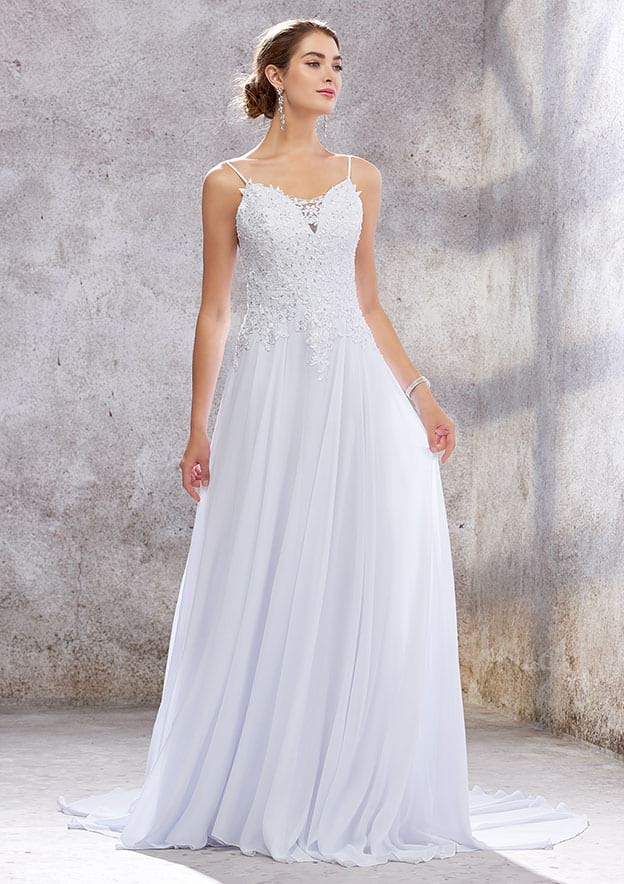 A-line/Princess Sleeveless Court Train Chiffon Wedding Dress With Appliqued/Sequins