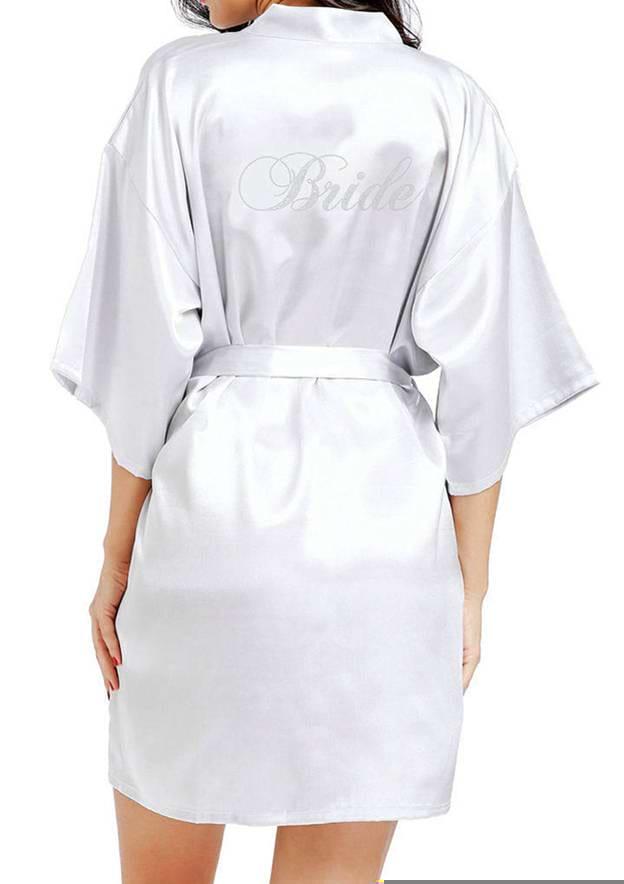 Personalized Customized Satin Bride Short Rhinestone Robes