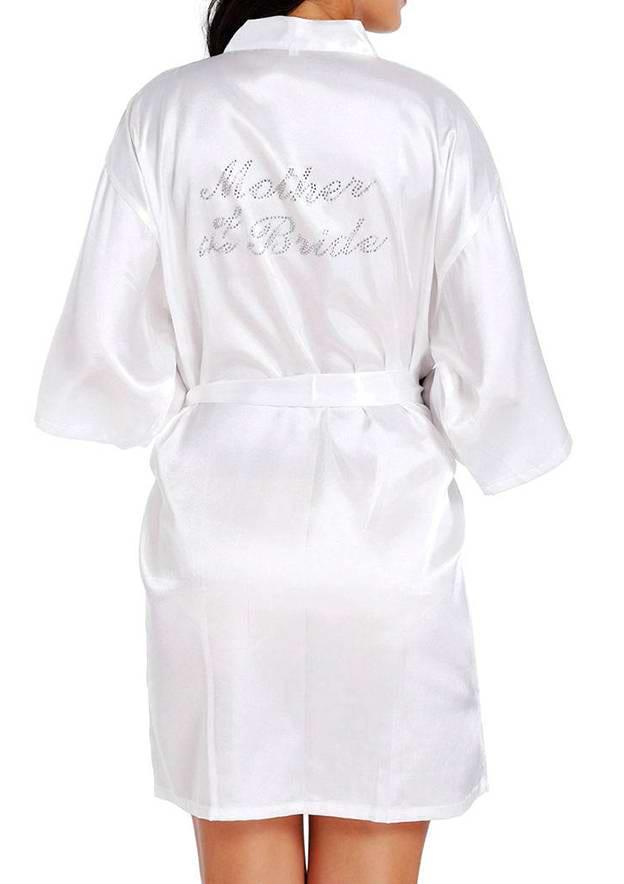 Personalized Customized Charmeuse Mom Short Rhinestone Robes