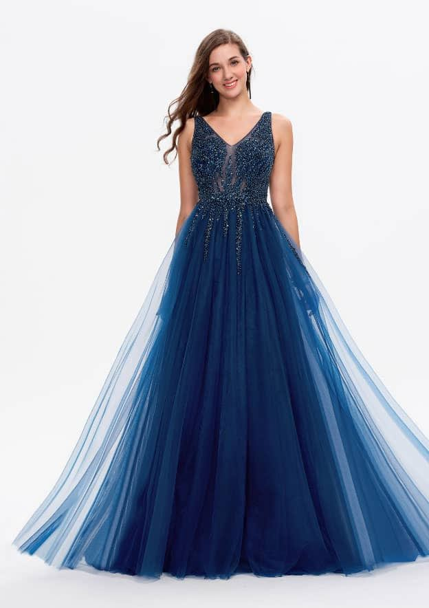 A-line/Princess Sleeveless Sweep Train Lace Prom Dress With Sequins