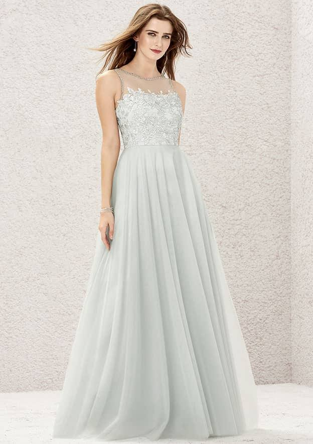 A-line/Princess Sleeveless Long/Floor-Length Tulle/Satin Bridesmaid Dress With Beading/Appliqued