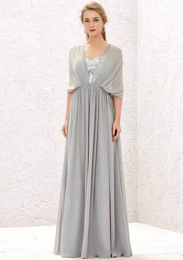 A-line/Princess Long/Floor-Length Chiffon/Sequined Convertible Bridesmaid Dress With Pleated