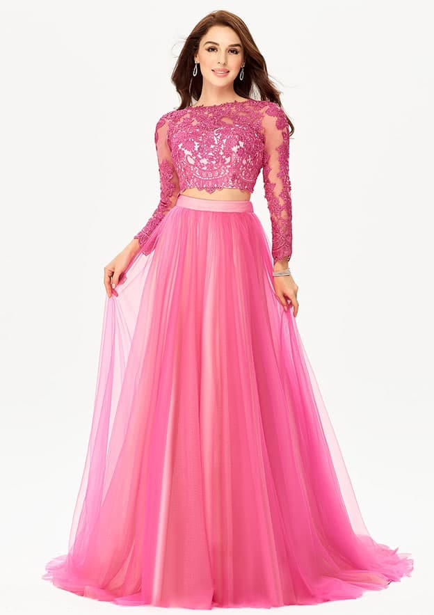 A-line/Princess Full/Long Sleeve Sweep Train Tulle Prom Dress With Lace