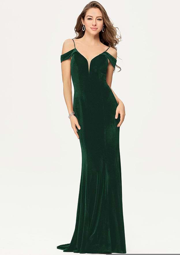 Sheath/Column Sleeveless Long/Floor-Length Velvet Prom Dress