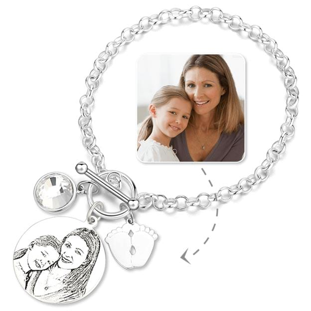 Personalized Engraved Photo Birthstone Baby Feet Bracelet Gift for Mom on Mother's Day