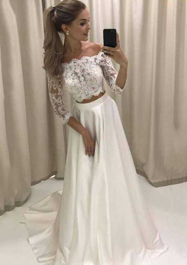 A-Line/Princess Off-The-Shoulder Sleeves Sweep Train Satin Wedding Dress With Appliqued Lace