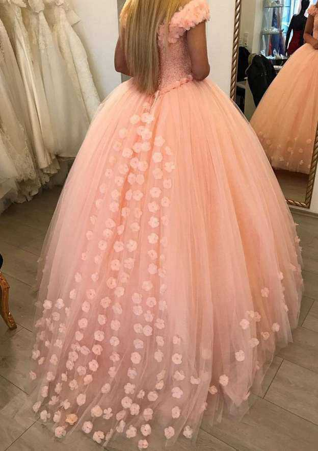 Ball Gown V Neck Sleeveless Sweep Train Tulle Wedding Dress With Appliqued Beading Flowers
