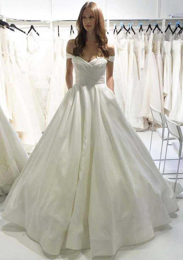 Ball Gown Off-The-Shoulder Sleeveless Long/Floor-Length Satin Wedding Dress With Pleated Pockets