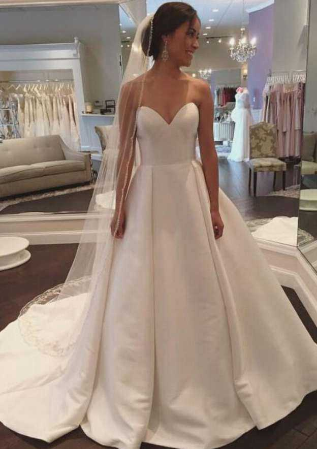 Ball Gown Sweetheart Sleeveless Court Train Satin Wedding Dress